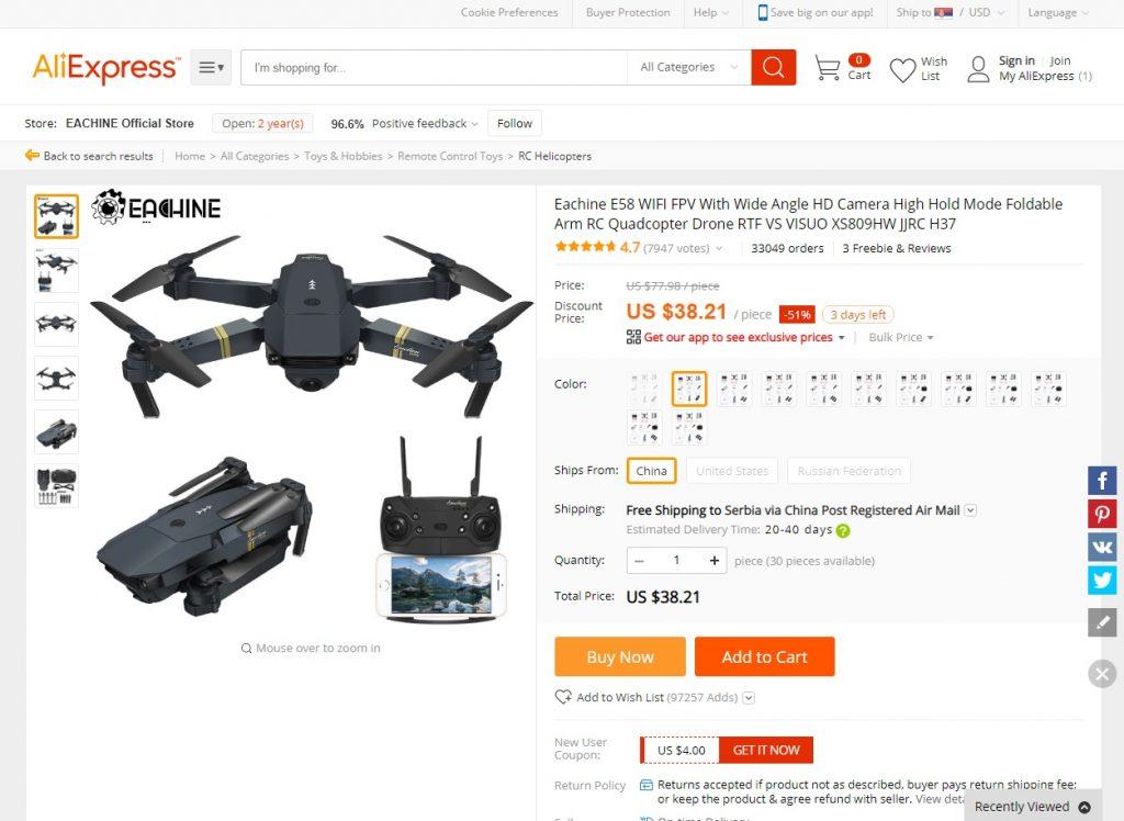 Aliexpress Srbija dron - kupi dron na aliekspress na srpskom jeziku